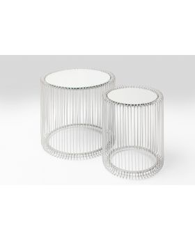 Side Table Wire Silver (2/Set),White