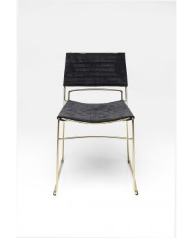 DINING CHAIR HUGO BLACK GOLD,FAB