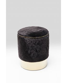STOOL CHERRY FUR BLACK BRASS O35CM