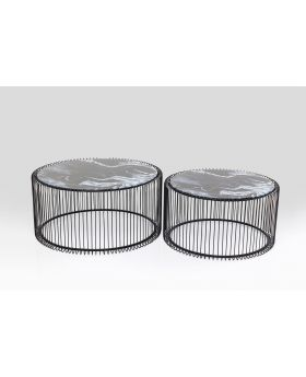 COFFEETABLE WIREGLASS MARBLEBLACK(2/SET)