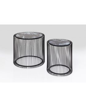 SIDETABLE WIRE MARBLE GLASS BLACK(2/SET)