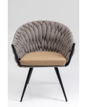 Knot Diningchair With Arm Tweed Grey,Fab