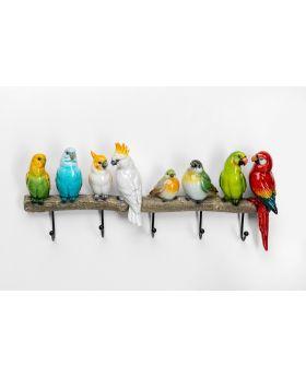 Coat Rack Exotic Birds Brown