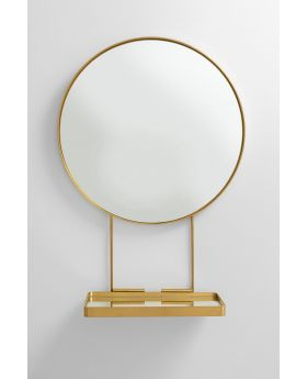 Mirror With Shelf Art Dia60Cm,Golden