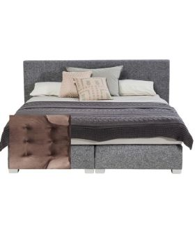 Boxspring Bed Lux Velvet Brown 180x200
