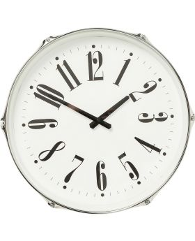 Wall Clock Drum Silver Ø45cm