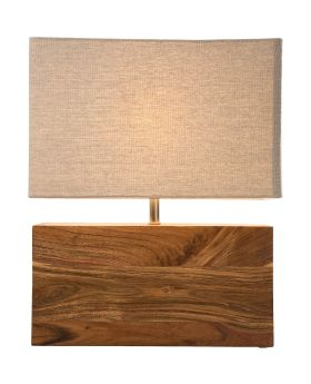 TABLE LAMP RECTANGLUAR WOOD NATURE (EXCLUDING BULB)