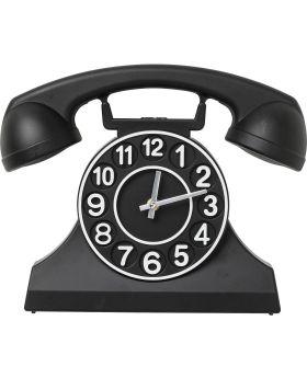 Wall Clock Telephone Black