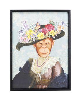 Picture Frame Art Monkey Lady 80X60Cm