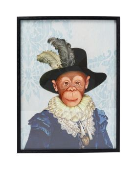 Picture Frame Art Monkey Sir 80X60Cm
