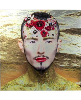 Picture Glas Metallic Flower Man Yellow