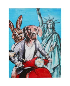 Picture Touched Animal Pair Ny 80X60Cm