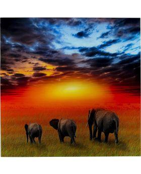 Picture Glass Savanne Elefants 100X100Cm
