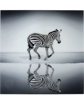 Picture Glass Savanne Zebra 120X120Cm