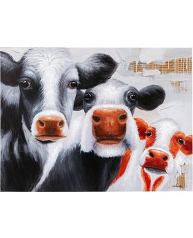 Picture Touched Snoopy Cows 120X90Cm