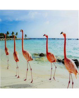 Picture Glass Flamingo Walk 80X80
