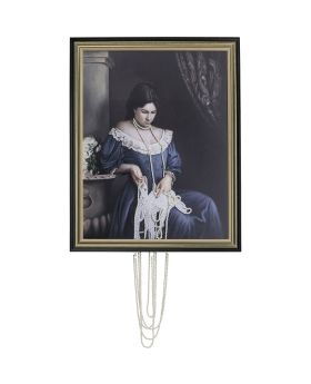 Oil Painting Frame Lady Pearls 100X80