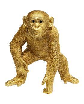 Deco Figurine Playing Ape Gold 50