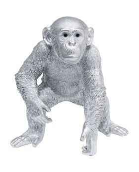 Deco Figurine Playing Ape Silver 50