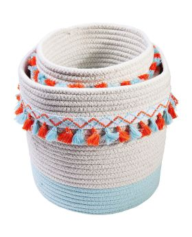 Basket Storage Fringes Orange-Light Blue (3/Set)