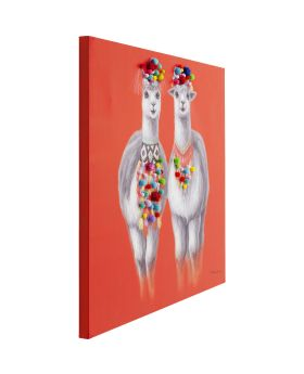 Picture Touched Lama Couple 90x90cm