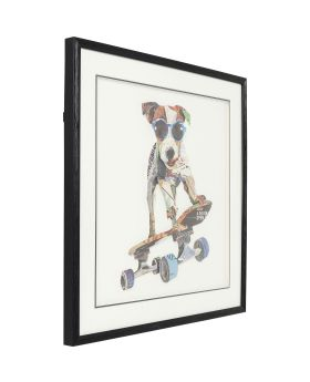 Picture Frame Art Skater Dog 65x65cm