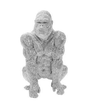 Deco Figurine Shiny Gorilla Silver 46cm