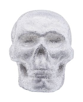 Deco Figurine Crystal Skull Silver Big