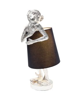 Table Lamp Animal Monkey Silver Black (Excluding Bulb)