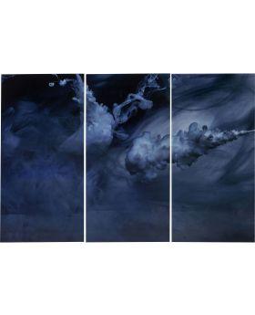 Picture Glass Triptychon Clouds 160x24