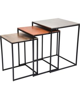 Side Table Loft Square Vintage (3/Set)
