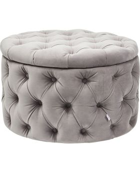 Seating Chest Desire Round Velvet Silv