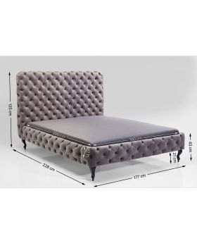 BED DESIRE HIGH SILVER GREY 160X200 CM    (EXCLUDING BED SLAT AND MATTRESS)