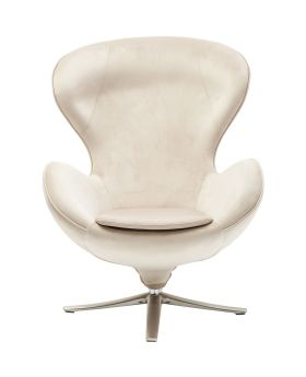 Swivel Chair Lounge Velvet Beige