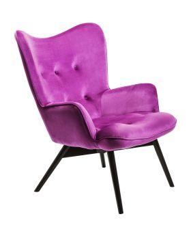 Armchair Black Vicky Velvet Purple
