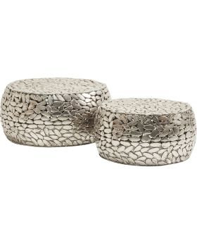 Coffee Table Pebbles Deluxe Silver (2/Set)