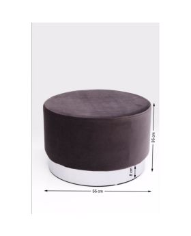 Stool Cherry Dark Grey Silver 55cm