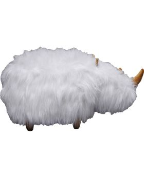 Stool Rhino Fur White