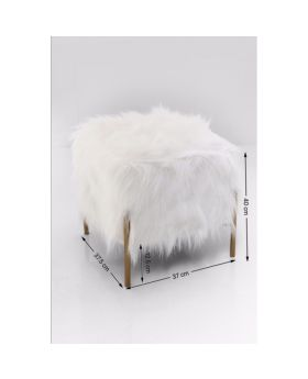 Stool Franzi Fur Gold 37x37cm