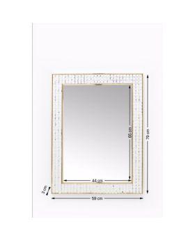 Mirror Crystals Steel Gold 80x60cm