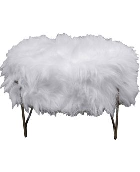 Stool Cottage White Fur Brass  55cm