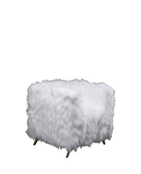 Armchair Cottage White Fur Brass