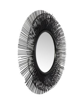 Mirror Sunburst Tre Black 87cm