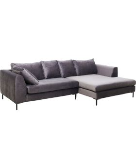 Corner Sofa Black Gianna Velvet Grey Right
