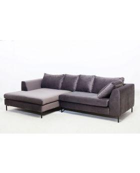 Corner Sofa Black Gianna Velvet Grey Left
