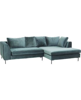 Corner Sofa Black Gianna Velvet Green Right