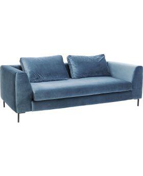 Sofa Black Gianna Velvet Bluegreen 3-seater