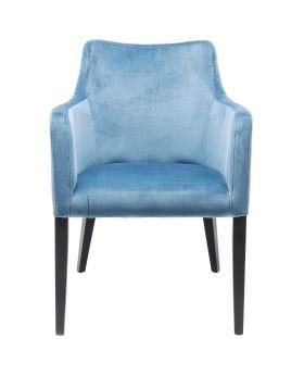 Chair with Armrest Black Mode Velvet Bluegreen