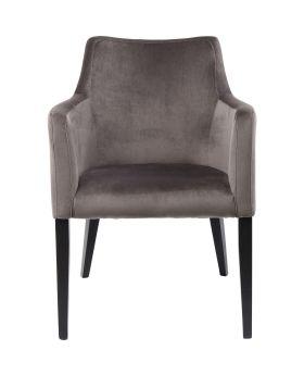 Chair with Armrest Black Mode Velvet Grey