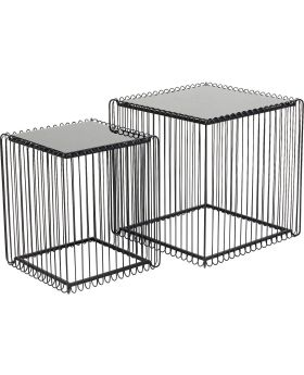 Side Table Wire Square Black (2/Set) 45x45cm